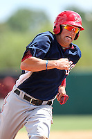 Washington Nationals third baseman Justin Bloxom #9 during an Instructional League game against the Houston Astros at Osceola County Stadium on September 26, 2011 in Kissimmee, Florida.  (Mike Janes/Four Seam Images)