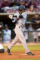 Devaris Gordon #5 of the Great Lakes Loons swings and misses at Fifth Third Field April 21, 2009 in Dayton, Ohio. (Photo by Brian Westerholt / Four Seam Images)