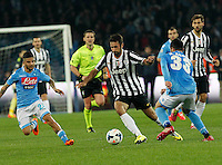 Mirko Vucinic    in action during the Italian Serie A soccer match between SSC Napoli and Juventus FC   at San Paolo stadium in Naples, March 30 , 2014