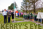 Kathleen Keating niece of Con Keating one of the first to die in the Rising of 1916 was given the honor of raising the Tri Color at Coars NS on Tuesday pictured from the left Michael O'Sullivan(Principal Coars NS), Michael Langford & Kathleen Keating, along with parents and children from the school.