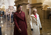 First lady Michelle Obama and Dr. Jill Biden arrive on Capitol Hill in Washington, Friday, Jan. 20, 2017, for President-elect Donald Trump's inauguration ceremony. <br /> Credit: J. Scott Applewhite / Pool via CNP