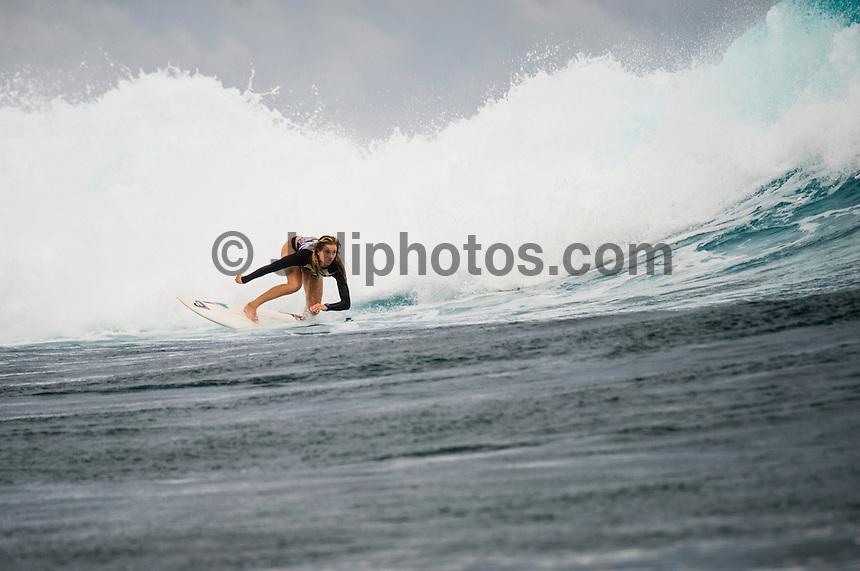 Namotu Island Resort, Namotu, Fiji. (Wednesday May 15, 2014) Bianca Buitendag (ZAF) at Cloudbreak –  The swell was in the 2'-3' range today with overcast skies light winds.  Photo: joliphotos.com