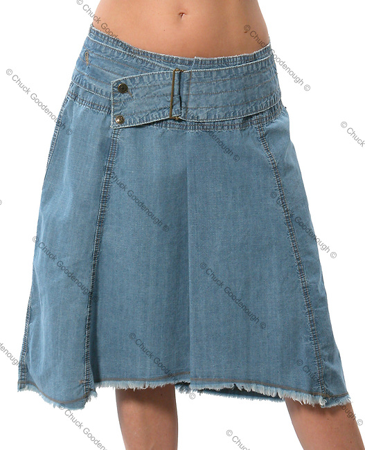 Stock Photo of a blue jean skirt against a white background