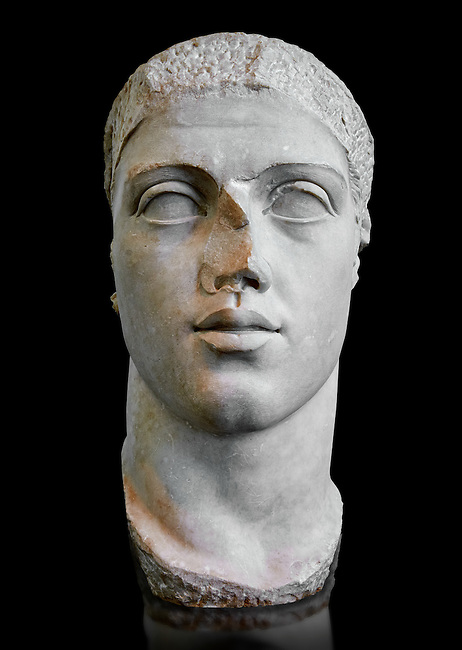 Roman sculpture bust of  Alexander Severus made between 222 and 235 AD and excavated from Ostia. Roman Emperor from 222 to 235. Alexander was the last emperor of the Severan dynasty. As emperor, Alexander's peace time reign was prosperous. However militarily Rome was confronted with the rising Sassanid Empire. He managed to check the threat of the Sassanids, but when campaigning against Germanic tribes of Germania, Alexander attempted to bring peace by engaging in diplomacy and bribery. This alienated many in the legions and led to a conspiracy to assassinate and replace him. . The National Roman Museum, Rome, Italy