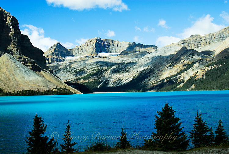 Stunning azure water of Bow Lake in Banff National Park