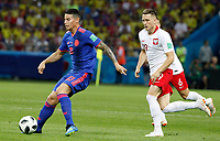 KAZAN - RUSIA, 24-06-2018: Piotr ZIELINSKI (Izq) jugador de Polonia disputa el balón con James RODRIGUEZ (Der) jugador de Colombia durante partido de la primera fase, Grupo H, por la Copa Mundial de la FIFA Rusia 2018 jugado en el estadio Kazan Arena en Kazán, Rusia. / Piotr ZIELINSKI (L) player of Polonia fights the ball with James RODRIGUEZ (R) player of Colombia during match of the first phase, Group H, for the FIFA World Cup Russia 2018 played at Kazan Arena stadium in Kazan, Russia. Photo: VizzorImage / Julian Medina / Cont