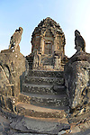 Angkorian temple Bakong at Roluos (late 9th century) 881.<br /> Bakong is the state temple of Indravarma I at Hariharalaya, the ancient capital city of the Khmers. Bakong was the first temple-mountain, the five tiers of its pyramid, and other elements, symbolizing Mount Meru. Bakong was dedicated to the worship of Shiva.The foundation stele describes the consecration of the linga Sri Indresrava in 881.