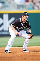 Charlotte Knights third baseman Matt Davidson (22) on defense against the Indianapolis Indians at BB&T Ballpark on May 23, 2014 in Charlotte, North Carolina.  The Indians defeated the Knights 15-6.  (Brian Westerholt/Four Seam Images)