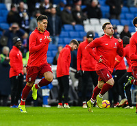 Liverpool's Roberto Firmino (left)  & Xherdan Shaqiri (right) during the prematch warmup <br /> <br /> Photographer David Horton/CameraSport<br /> <br /> The Premier League - Brighton and Hove Albion v Liverpool - Saturday 12th January 2019 - The Amex Stadium - Brighton<br /> <br /> World Copyright © 2018 CameraSport. All rights reserved. 43 Linden Ave. Countesthorpe. Leicester. England. LE8 5PG - Tel: +44 (0) 116 277 4147 - admin@camerasport.com - www.camerasport.com