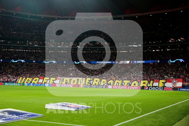 Supporters of Atletico de Madrid during UEFA Champions League match between Atletico de Madrid and Juventus at Wanda Metropolitano Stadium in Madrid, Spain. September 18, 2019. (ALTERPHOTOS/A. Perez Meca)