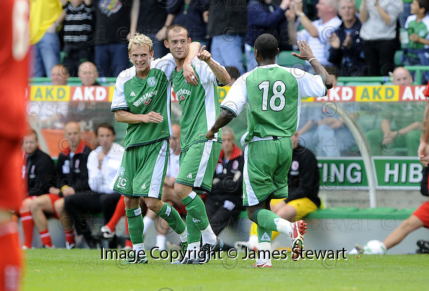 02/08/2008  Collect Pic: James Stewart.File Name : sct_jspa13_hibs_v_middlesbrough.STEVEN FLETCHER IS CONGRATULATED BY DEAN SHIELS AFTER HE SCORES HIBS SECOND.James Stewart Photo Agency 19 Carronlea Drive, Falkirk. FK2 8DN      Vat Reg No. 607 6932 25.Studio      : +44 (0)1324 611191 .Mobile      : +44 (0)7721 416997.E-mail  :  jim@jspa.co.uk.If you require further information then contact Jim Stewart on any of the numbers above........