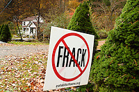 No Frack sign Basket Creek. New York