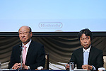 Nintendo Co. President Tatsumi Kimishima (left) and senior managing director Shigeru Miyamoto <br /> attend a news conference in Tokyo, October 29, 2015. <br /> (Photo by Takeshi Sumikura/AFLO)