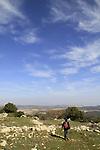Israel, Upper Galilee, hiking on Mount Meron