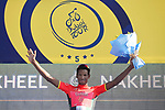 Daniel Teklehaimanot (ERI) Cofidis wears the Red Intermediate Sprint Jersey Classification after Stage 1 The Nakheel Stage of the Dubai Tour 2018 the Dubai Tour&rsquo;s 5th edition, running 167km from Skydive Dubai to Palm Jumeirah, Dubai, United Arab Emirates. 6th February 2018.<br /> Picture: LaPresse/Fabio Ferrari | Cyclefile<br /> <br /> <br /> All photos usage must carry mandatory copyright credit (&copy; Cyclefile | LaPresse/Massimo Paolone)