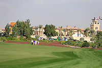 Shane Lowry (IRL) and his team walk down the 10th during the preview for the DP World Tour Championship at the Earth course,  Jumeirah Golf Estates in Dubai, UAE,  18/11/2015.<br /> Picture: Golffile | Thos Caffrey<br /> <br /> All photo usage must carry mandatory copyright credit (© Golffile | Thos Caffrey)