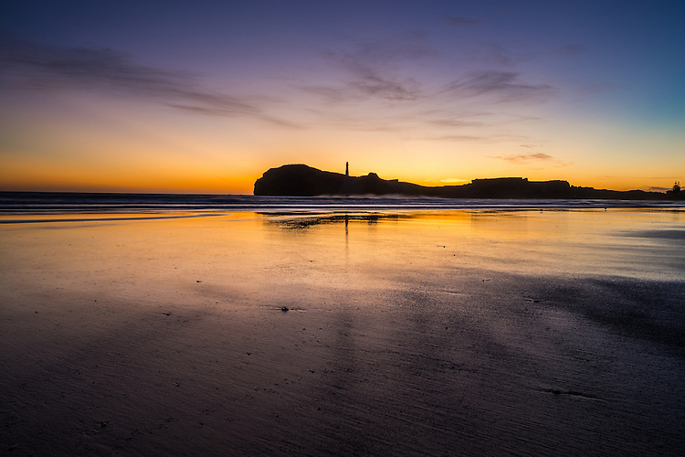 Castlepoint lighthouse evening silhouette, Coastal Wairarapa, New Zealand - stock photo, canvas, fine art print