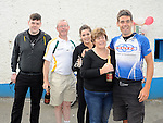 Eoin McCartney pictured with his parents Philip and  Josephine, brother Philip and sister Sonia at pairc Mhuire in Ardee after cycling from Melbourne Austrailia. Photo: www.colinbellphotos.com