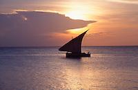 Tanzania Zanzibar Dhow at sunset