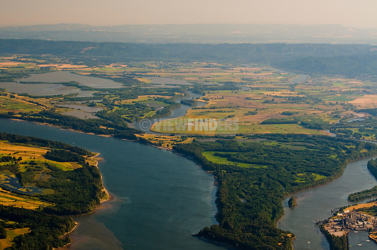 Aerial View of Sauvies Island Looking South, Portland, Oregon