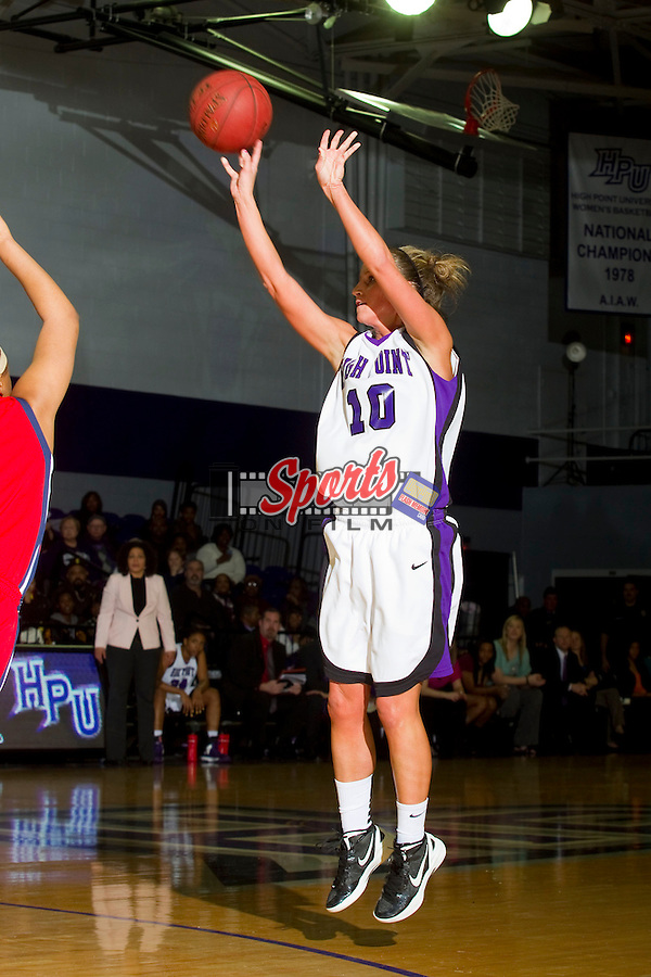 Lindsay Puckett (10) of the High Point Panthers fires up a jump shot during first half action against the Liberty Flames at Millis Athletic Center on February 2, 2013 in High Point, North Carolina.  The Flames defeated the Panthers 67-59.   (Brian Westerholt/Sports On Film)