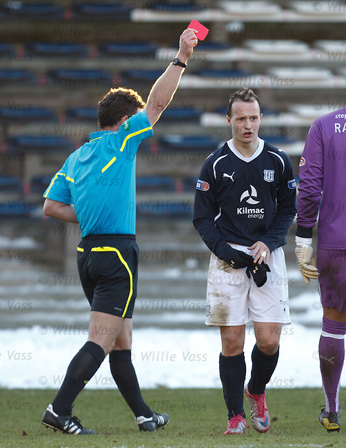Leigh Griffiths has a late lunge on Steven Hammell and is sent off by referee Steve Conroy