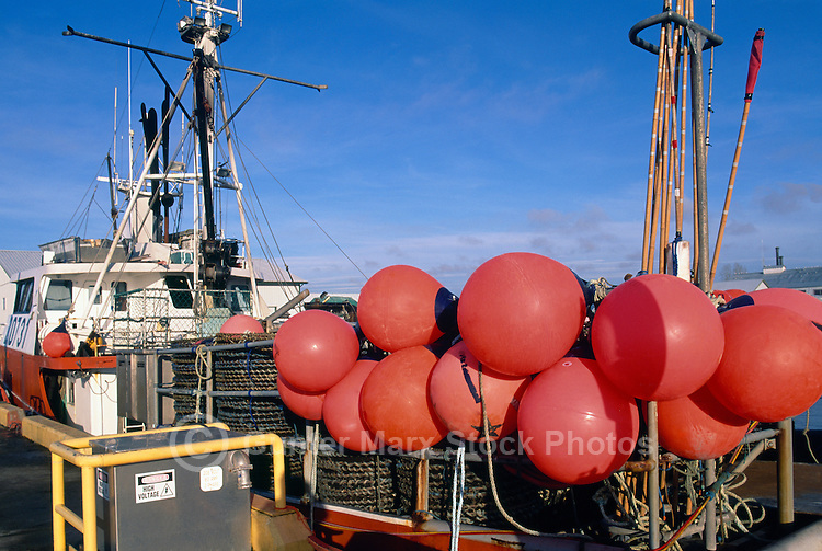Buoys on Commercial Crab Fishing Boat docked in the Fraser River, Steveston, BC, British Columbia, Canada