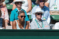 March 6, 2016: Katrina Adams, the Chairman of the Board, CEO and President of the USTA watches the first reverse single match between John Isner of USA and Bernard Tomic of Australia during the BNP Paribas Davis Cup World Group first round tie between Australia and USA at Kooyong tennis club in Melbourne, Australia. Photo Sydney Low