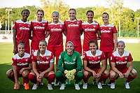 Kansas City, MO - Saturday May 27, 2017: Mallory Pugh, Katherine Stengel, Cheyna Williams, Kristie Mewis, Line Sigvardsen-Jensen, Meggie Dougherty Howard, Alyssa Kleiner, Shelina Zadorsky, Whitney Church, Estelle Johnson, Stephanie Labbé during a regular season National Women's Soccer League (NWSL) match between FC Kansas City and the Washington Spirit at Children's Mercy Victory Field.