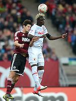 FUSSBALL   1. BUNDESLIGA  SAISON 2012/2013   8. Spieltag 1. FC Nuernberg - FC Augsburg       21.10.2012 Timm Klose (li, 1 FC Nuernberg) gegen Aristide Bance (FC Augsburg)