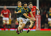 2nd December 2017, Principality Stadium, Cardiff, Wales; Autumn International Rugby Series, Wales versus South Africa; Dillyn Leyds of South Africa gathers the ball despite the pressure form Steff Evans of Wales