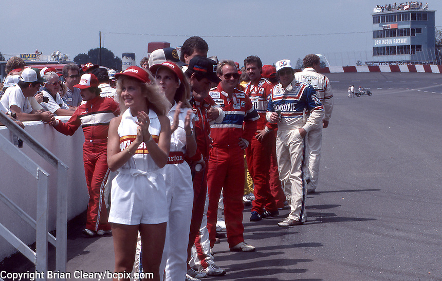 Drivers gather on the front straightaway for driver introductions before  the Southern 500 at Darlington Raceway in Darlington SC on September 1, 1985. (Photo by Brian Cleary/www.bcpix.com)