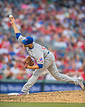 15 June 2016: Chicago Cubs pitcher Justin Grimm on the mound during a game against the Washington Nationals at Nationals Park in Washington, DC. The Cubs fell to the Nationals 5-4 in 12 innings, giving up the rubber match of their 3-game series. Mandatory Credit: Ed Wolfstein Photo *** RAW (NEF) Image File Available ***