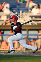 Batavia Muckdogs second baseman Iramis Olivencia (49) at bat during a game against the Williamsport Crosscutters on August 25, 2014 at Dwyer Stadium in Batavia, New York.  Batavia defeated Williamsport 3-0.  (Mike Janes/Four Seam Images)