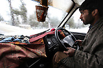 No heater, no wipers. The extremley dubious taxi from Srinagar airport to the ski fields at Gulmarg in the disputed northern Indian state of Kashmir. 60km's from Srinagar  tourists are drawn from all over the world for the cheap skiing and Indian winter experience but it is a far more rustic adventure than in Europe or the United States.