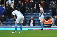 Blackburn Rovers' Greg Cunningham (right) and Adam Armstrong look dejected at full-time<br /> <br /> Photographer Kevin Barnes/CameraSport<br /> <br /> The EFL Sky Bet Championship - Blackburn Rovers v Luton Town - Saturday 28th September 2019 - Ewood Park - Blackburn<br /> <br /> World Copyright © 2019 CameraSport. All rights reserved. 43 Linden Ave. Countesthorpe. Leicester. England. LE8 5PG - Tel: +44 (0) 116 277 4147 - admin@camerasport.com - www.camerasport.com