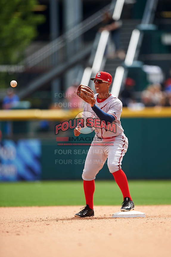 Syracuse Chiefs second baseman Chris Bostick (1) waits for a throw during a game against the Buffalo Bisons on July 31, 2016 at Coca-Cola Field in Buffalo, New York.  Buffalo defeated Syracuse 6-5.  (Mike Janes/Four Seam Images)
