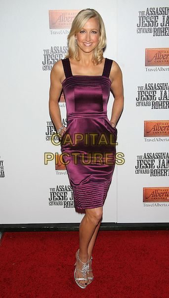"LARA SPENCER.U.S. Premiere of ""The Assassination of Jesse James by the Coward Robert Ford"" at the Ziegfeld Theatre, New York, NY, USA, September18, 2007..full length purple dress hands in pockets.CAP/TOM/LNC.©LNC/Capital Pictures."
