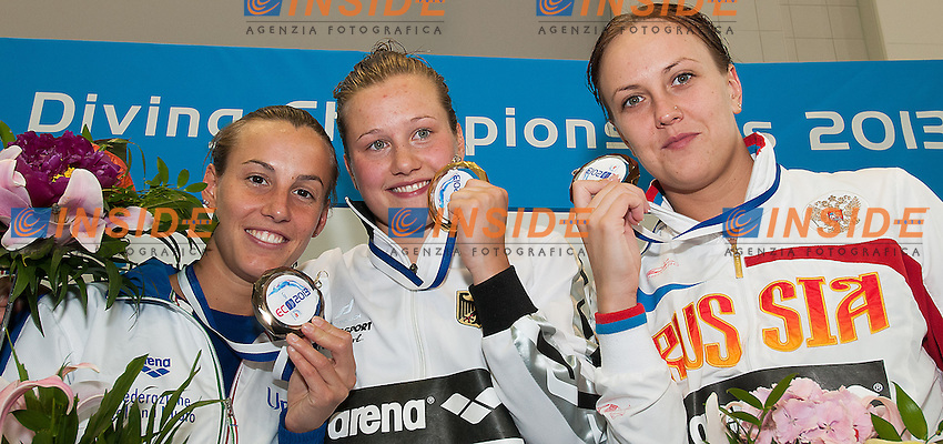 podium<br /> from left CAGNOTTO Tania Italy ITA, PUNZEL Tina Germany GER, BAZHINA Nadezhda Russia RUS<br /> Arena European Diving Championships<br /> 22 June 2013 Rostock GER Germany<br /> Day 05  3m Springboard  women<br /> Photo Giorgio Scala Insidefoto