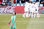 Real Madrid's players celebrate goal in presence of Jordi Codina dejected during La Liga match.January 18,2013. (ALTERPHOTOS/Acero)