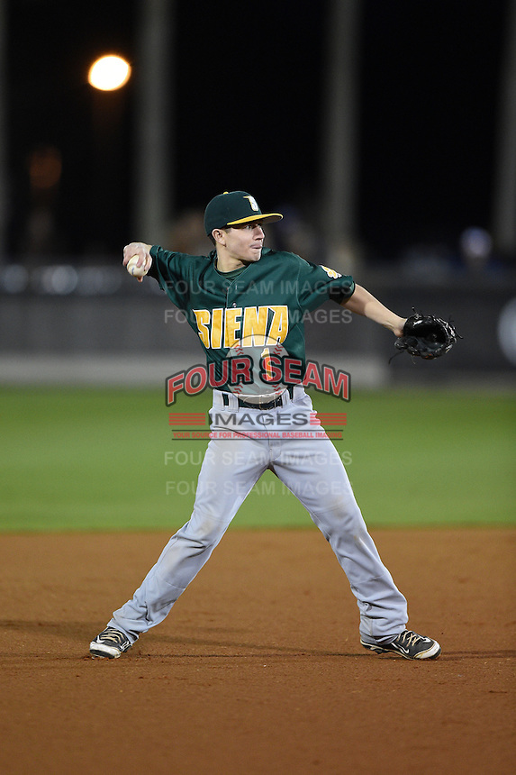 Siena Saints infielder Tyler Martis (1) during the opening game of the season against the UCF Knights on February 13, 2015 at Jay Bergman Field in Orlando, Florida.  UCF defeated Siena 4-1.  (Mike Janes/Four Seam Images)