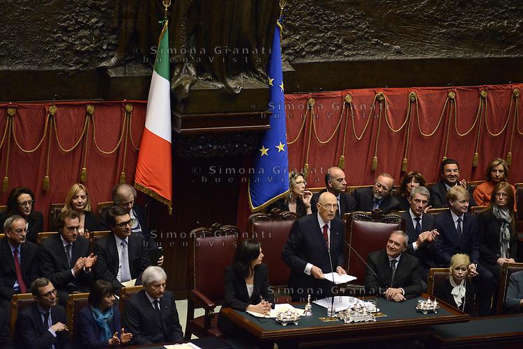 Roma, 22 Aprile 2013.Camera dei Deputi.Giorgio Napolitano giura davanti le Camere riunite a Presidente della Repubblica.