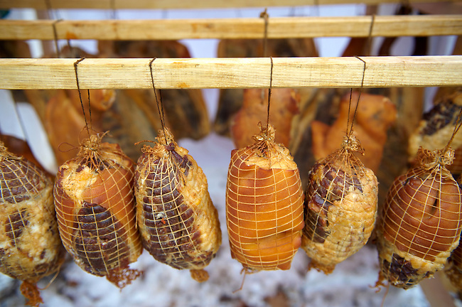 Hungarian Mangalicsa (Mangalitsa) smoked hams pig meat ptoducts. Food photos.