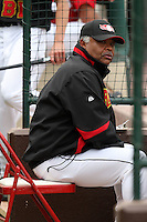 May 2, 2010:  Coach Floyd Rayford of the Rochester Red Wings in the dugout during a game vs. the Durham Bulls at Frontier Field in Rochester, NY.  Rochester defeated Durham in extra innings by the score of 7-6.  Photo By Mike Janes/Four Seam Images