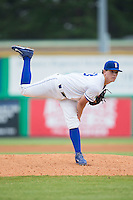 Burlington Royals starting pitcher Travis Eckert (23) follows through on his delivery against the Bluefield Blue Jays at Burlington Athletic Stadium on June 27, 2016 in Burlington, North Carolina.  The Royals defeated the Blue Jays 9-4.  (Brian Westerholt/Four Seam Images)
