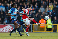 Fleetwood Town's Ross Wallace competing with Wycombe Wanderers' Marcus Bean <br /> <br /> Photographer Andrew Kearns/CameraSport<br /> <br /> The EFL Sky Bet League One - Wycombe Wanderers v Fleetwood Town - Saturday 4th May 2019 - Adams Park - Wycombe<br /> <br /> World Copyright © 2019 CameraSport. All rights reserved. 43 Linden Ave. Countesthorpe. Leicester. England. LE8 5PG - Tel: +44 (0) 116 277 4147 - admin@camerasport.com - www.camerasport.com