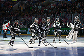 Josh Monk (PC - 27), Kyle McKenzie (PC - 5), Brandon Tanev (PC - 22), Kevin Rooney (PC - 21), Steven McParland (PC - 15), Jon Gillies (PC - 32) - The Providence College Friars defeated the Boston University Terriers 4-3 to win the national championship in the Frozen Four final at TD Garden on Saturday, April 11, 2015, in Boston, Massachusetts.