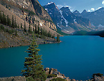 Banff National Park, Canada<br /> Moraine Lake under the towering Wenkchemna Peaks of the Canadian Rockies