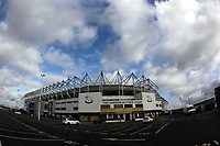 A general view of Pride Park Stadium the home of Derby County<br /> <br /> Photographer Mick Walker/CameraSport<br /> <br /> The EFL Sky Bet Championship - Derby County v Blackburn Rovers - Sunday 8th March 2020  - Pride Park - Derby<br /> <br /> World Copyright © 2020 CameraSport. All rights reserved. 43 Linden Ave. Countesthorpe. Leicester. England. LE8 5PG - Tel: +44 (0) 116 277 4147 - admin@camerasport.com - www.camerasport.com