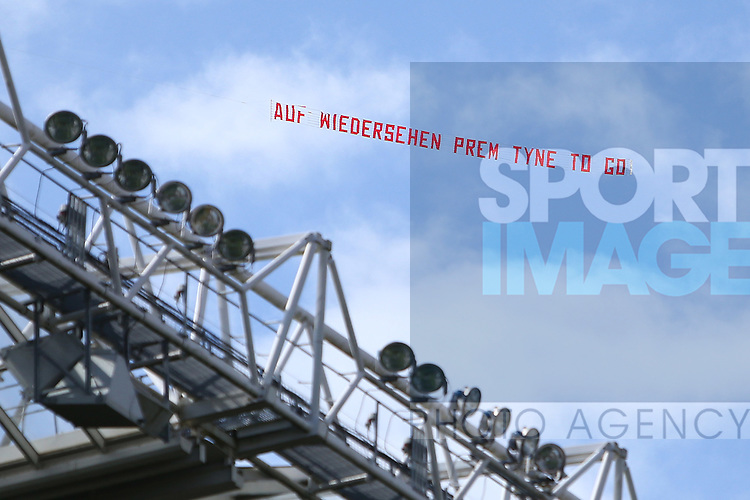 A goading message for Newcastle fans is flown above the stadium during the Barclays Premier League match at St James' Park. Photo credit should read: Philip Oldham/Sportimage